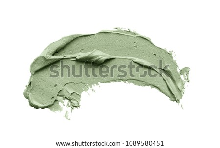 Cosmetic mud mask smear isolated on white background. Top view, closeup texture of blue facial clay, copy space #1089580451