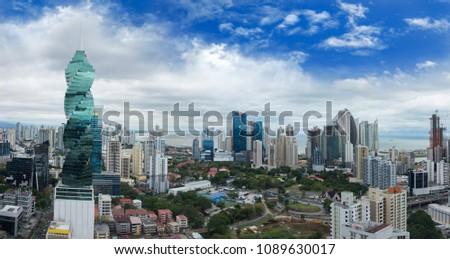 Wide panorama of Panama City Skyline - Panama City, Panama #1089630017