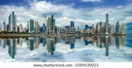 Wide panorama of Panama City Skyline - Panama City, Panama #1089630023