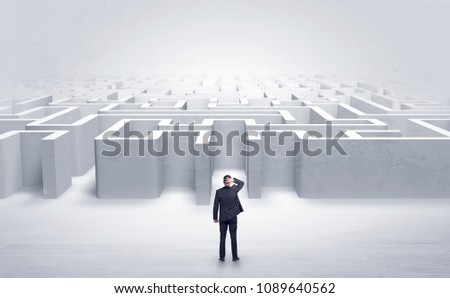 Businessman trying to decide which entrance to choose at the maze #1089640562