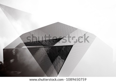 Composition of several photos of visor over building porch / facade. Modern architecture fragment with shadows and reflections. Abstract black and white background with geometric pattern. #1089650759
