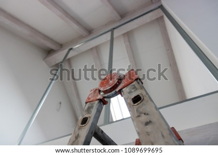 Construction works indoor, industry and build theme #1089699695