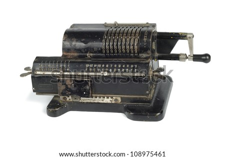 Old black adding machine isolated on white background with clipping path #108975461