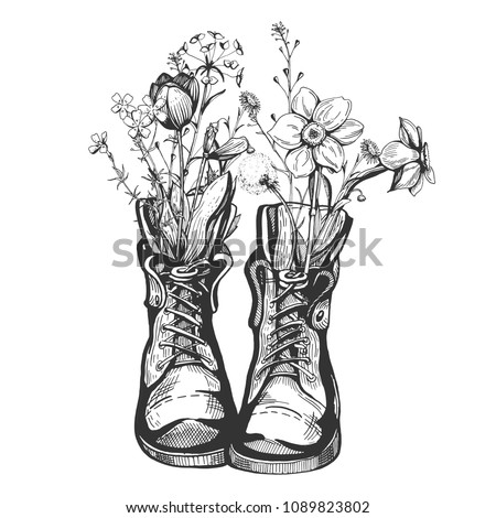 Vector illustration of an old vintage boots filled with wild field meadow flowers. Hiking inspiring, nature admiration design. Hand drawn engraving style.