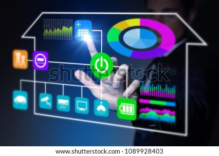 User interface of smart home concept. Energy management system. Home network.
