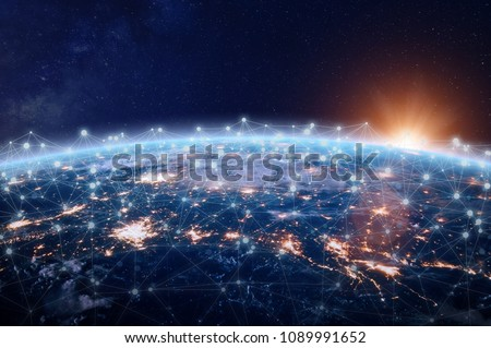 Global world telecommunication network connected around planet Earth, concept about internet and worldwide communication technology for finance, blockchain cryptocurrency or IoT, image from NASA Royalty-Free Stock Photo #1089991652