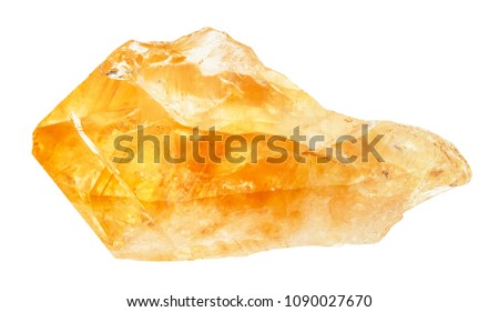 macro shooting of natural rock specimen - raw crystal of Citrine (yellow quartz) gemstone isolated on white background from Brazil #1090027670