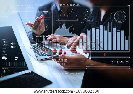Intelligence (BI) and business analytics (BA) with key performance indicators (KPI) dashboard concept.Business team meeting. Photo professional investor working new start up project.  #1090082330