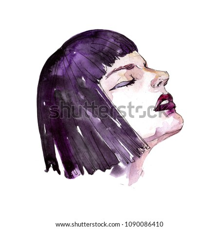 The girl's face sketch fashion glamour illustration. Clothes accessories set trendy vogue outfit. Aquarelle fashion sketch for background, texture, wrapper pattern, frame or border. #1090086410