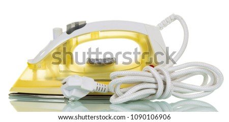 Modern electric steam iron isolated on white #1090106906