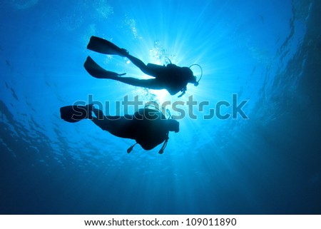 Couple of scuba divers set out on an underwater adventure #109011890