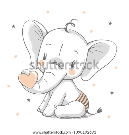 Vector illustration of a cute baby elephant holding a heart in his trunk.