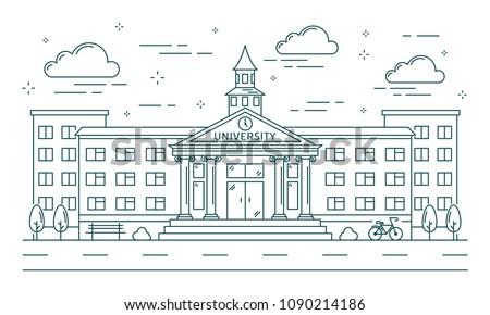 University line building illustration on white background. Royalty-Free Stock Photo #1090214186