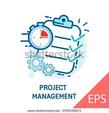 Project management. Onboarding screen for mobile apps. Thin line flat for web. Vector modern line design illustration icon Royalty-Free Stock Photo #1090238615