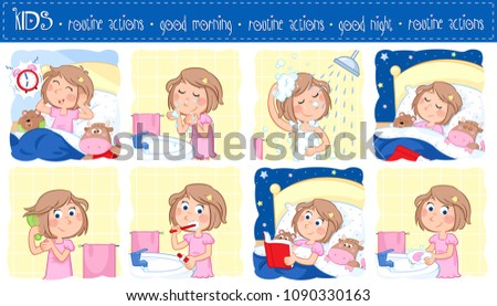 Daily routine - Good morning and good night - Lovely little girl with light brown hair - Set of eight illustrations