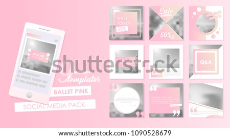 Social media banner template for your blog or business.  Cute pastel pink designs for photo. Vector flat set  #1090528679
