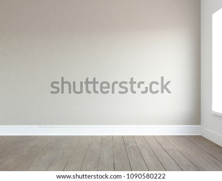 Idea of a beige empty scandinavian room interior with wooden floor and large wall and white landscape in window. Home nordic interior. 3D illustration #1090580222
