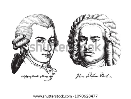 Wolfgang Amadeus Mozart and Johann Sebastian Bach. Great composers and musicians set.  Hand drawn vector portraits in the style of engraving  isolated on white background.
