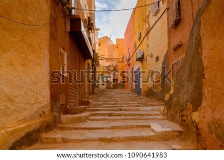 Architecture of Ghardaia (Tagherdayt), Algeria, located along Wadi Mzab, UNESCO world heriatage site #1090641983