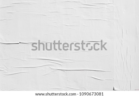 authentic basic natural wrinkly white empty poster texture #1090673081