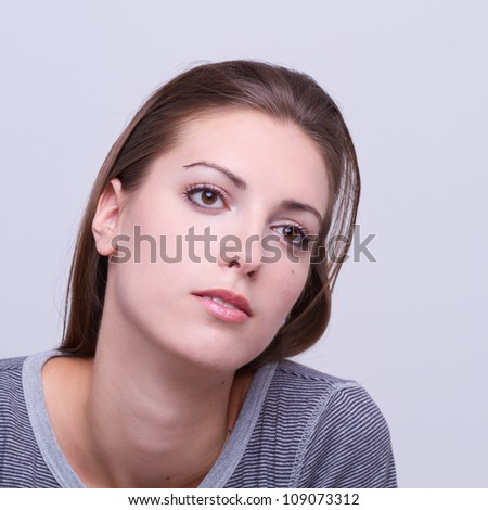 closeup portrait of a young beautiful girl - expression #109073312