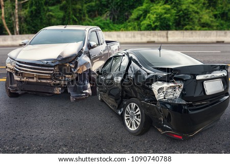 car crash accident damage on the road #1090740788