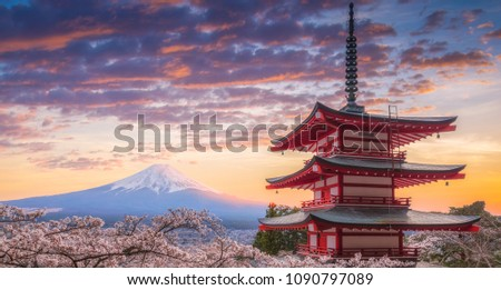 Mount Fujisan beautiful landscapes on sunset. Fujiyoshida, Japan at Chureito Pagoda and Mt. Fuji in the spring with cherry blossoms.  #1090797089