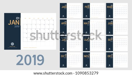 Vector of 2019 new year calendar in clean minimal table simple style and blue and orange yellow color,Holiday event planner,Week Starts Sunday.include holiday event.A5 size Royalty-Free Stock Photo #1090853279