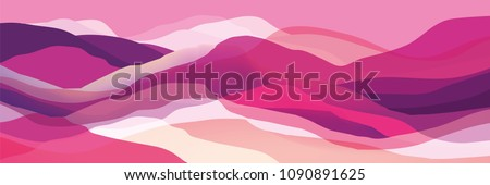 Color mountains, waves, abstract shapes, modern background, vector design Illustration for you project #1090891625