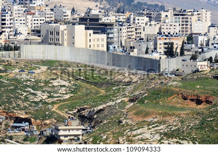 The Israel West Bank Barrier, a symbol of the ongoing conflict between Israel and Palestine. #109094333
