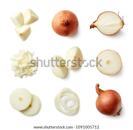 Set of fresh whole and sliced onions isolated on white background. Top view Royalty-Free Stock Photo #1091005712