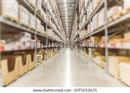 Large Inventory. Warehouse Goods Stock for Logistic shipping banner background. #1091010635