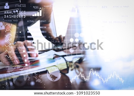 Intelligence (BI) and business analytics (BA) with key performance indicators (KPI) dashboard concept.business documents on office table with smart phone and digital tablet and graph business. #1091023550