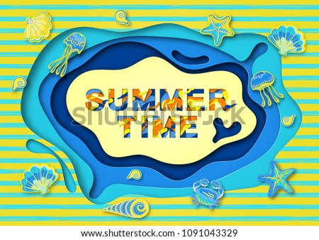 Summer typography design with abstract paper cut shapes, seashells and marine life .  illustration. A frame of cut paper. #1091043329