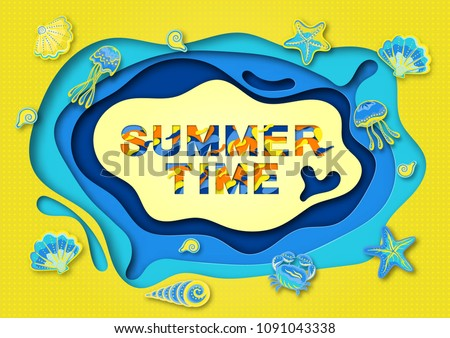 Summer typography design with abstract paper cut shapes, seashells and marine life .  illustration. A frame of cut paper. #1091043338