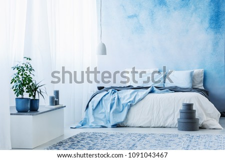 Sky blue bedroom interior with double bed, plants and grey boxes on the floor #1091043467