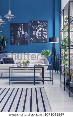 Black industrial racks and a box frame coffee table in a blue designer living room interior with artworks and plants  #1091061869
