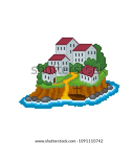 Fantastic island with stone buildings icon. Isolated vector pixel art 80s style illustration. 8-bit sprite. Design sticker, logo, app.