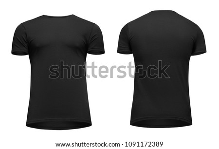 Blank template men black t shirt short sleeve, front and back view bottom-up, isolated on white background with clipping path. Mockup concept tshirt for design and print. #1091172389