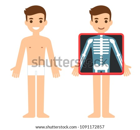 Cartoon male character getting x-ray checkup. Transparent screen showing chest bones. Radiography exam illustration, health and science vector clip art.