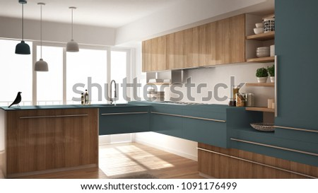 Modern minimalistic wooden kitchen with parquet floor, carpet and panoramic window, white and blue architecture interior design, 3d illustration #1091176499