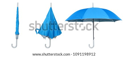 Set of blue umbrella isolated on a white background. Step to open the umbrella #1091198912