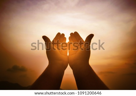 Christian man with open hands worship christian. Eucharist Therapy Bless God Helping Repent Catholic Easter Lent Mind Pray. Christian concept background. #1091200646