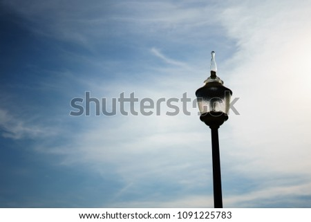 lamp outdoor with sky blue at outdoor. #1091225783