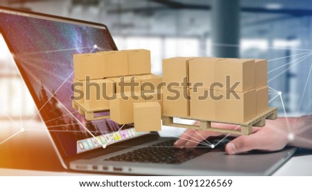 View of Pallet of carboxes with network connection system - 3d render #1091226569