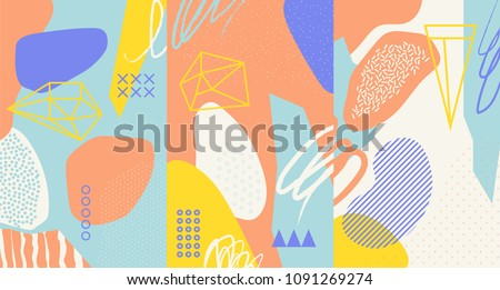 Creative doodle art header with different shapes and textures. Collage. Vector #1091269274