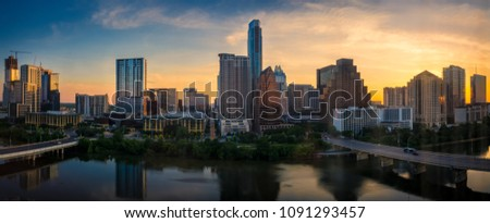 Panorama of Downtown Austin, Texas at sunrise.