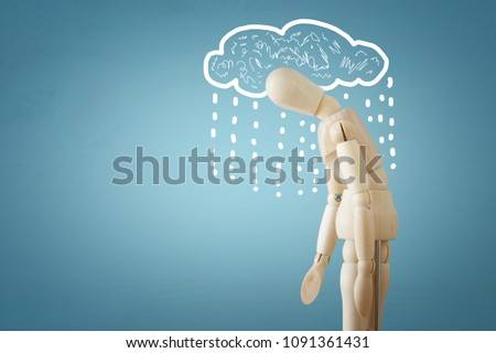 image of wooden dummy with worried stressed thoughts. depression, obsessive compulsive, adhd, anxiety disorders concept #1091361431