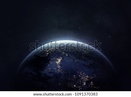 Nightly Earth in the outer space collage. Abstract wallpaper. City lights on planet. Civilization. Elements of this image furnished by NASA