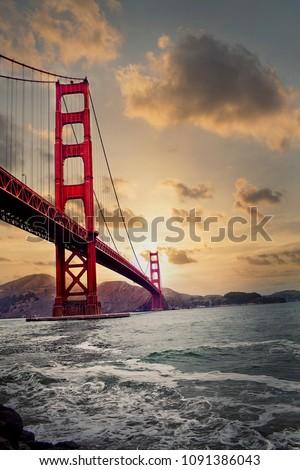 Golden Gate Bridge Sunset  #1091386043